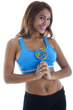 Pretty Fit Woman having a Lolly Pop Stock Image