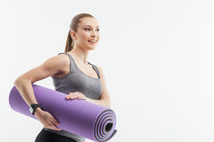 Pretty fit woman is ready for exercising Royalty Free Stock Photos