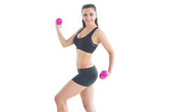 Pretty fit woman training with pink dumbbells Stock Photography