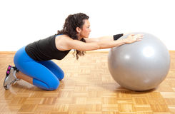 Pretty fitness girl with ball Stock Image