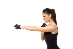 Pretty fitness girl training kick boxing Stock Image