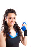 Pretty fitness girl with weights Royalty Free Stock Photo