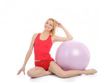 Pretty fitness woman exercise with pilates ball Stock Photography