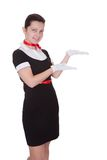 Pretty flight attendant or hostess Stock Photo
