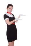 Pretty flight attendant or hostess Stock Photo