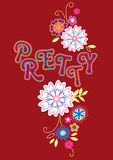 Pretty floral embroidery on a red background Royalty Free Stock Photo