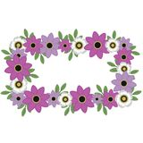 Pink and White Flowers Rectangular Wreath vector illustration