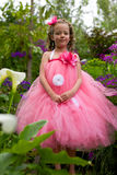 Pretty flower girl. stock photos