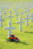 Pretty flowers by grave of unmarked headstone. Flowers laid by cross shaped headstone of military grave Royalty Free Stock Image