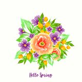 Pretty flowers, leaves, berries for wedding invitations and birthday cards. Vector Illustration vector illustration