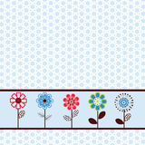 Pretty flowers in a row. Over Background pattern Stock Photos