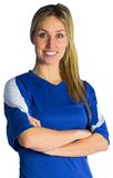 Pretty football fan in blue jersey Royalty Free Stock Images