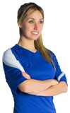 Pretty football fan in blue jersey Stock Photos