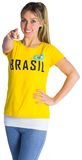 Pretty football fan in brasil t-shirt Royalty Free Stock Photography