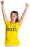 Pretty football fan in brasil t-shirt Royalty Free Stock Photos