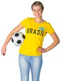 Pretty football fan in brasil tshirt Stock Image
