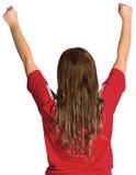 Pretty football fan cheering Stock Photo
