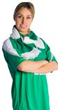 Pretty football fan in green jersey Royalty Free Stock Photos