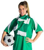 Pretty football fan in green jersey Stock Photography