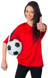 Pretty football fan in red Royalty Free Stock Photos