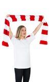 Pretty football fan in white cheering Stock Image