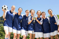 Pretty football players celebrating their win Royalty Free Stock Images