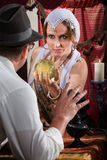 Pretty Fortune Teller Holding Crystal Ball Stock Photos