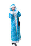 Pretty freckled girl dressed as Snow Maiden Stock Image