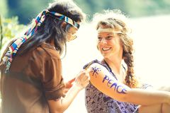 Pretty free hippie girls. Body painting - Vintage effect photo stock images
