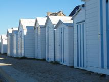 The pretty french beach cabins stock photography