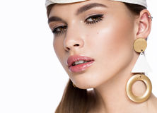 Pretty fresh girl, image of modern Twiggy with unusual eyelashes and accessories. Close up portrait Stock Photography