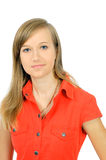 Pretty fresh young girl in red shirt Royalty Free Stock Photo