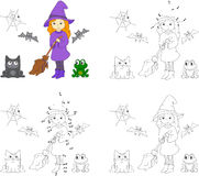 Pretty friendly witch with a broomstick, bats, black cat and fro Royalty Free Stock Photos