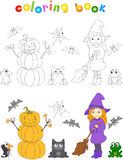Pretty friendly witch with a broomstick, pumpkin snowman, surpri Royalty Free Stock Image