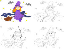 Pretty friendly witch flying on a broomstick in the night sky on Royalty Free Stock Images