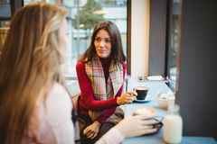 Pretty friends chatting over coffee. In cafe Royalty Free Stock Image