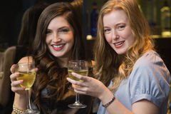 Pretty friends drinking wine together. At the bar Royalty Free Stock Photos