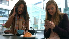 Pretty friends enjoying coffee in cafe using phones. In high quality format stock video