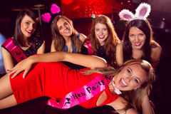 Pretty friends on a hen night Stock Photos