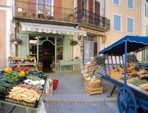 Pretty fruit and vegetable shop in a Provençal village, France royalty free stock image