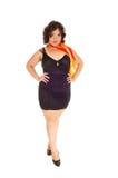 Pretty full size woman black dress. Stock Image