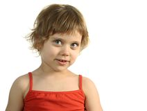 Pretty fun child look in to ca. Mera Royalty Free Stock Photos