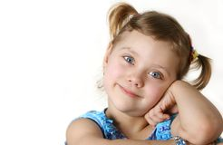 Pretty fun child look to you. Pretty smiling girl, isolated over white, high key Royalty Free Stock Image