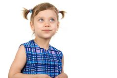 Pretty fun child look in up. Isolate on white Royalty Free Stock Images