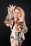 Pretty funny barbarian girl Stock Photos