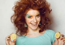 Pretty funny girl with art make up Royalty Free Stock Images