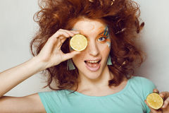 Pretty funny girl with art make up Royalty Free Stock Photos