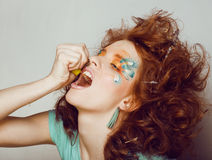 Pretty funny girl with art make up Stock Photography