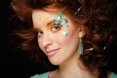 Pretty funny girl with art make up Royalty Free Stock Photography