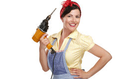 Pretty funny girl  struggling with some housework. On white Royalty Free Stock Image